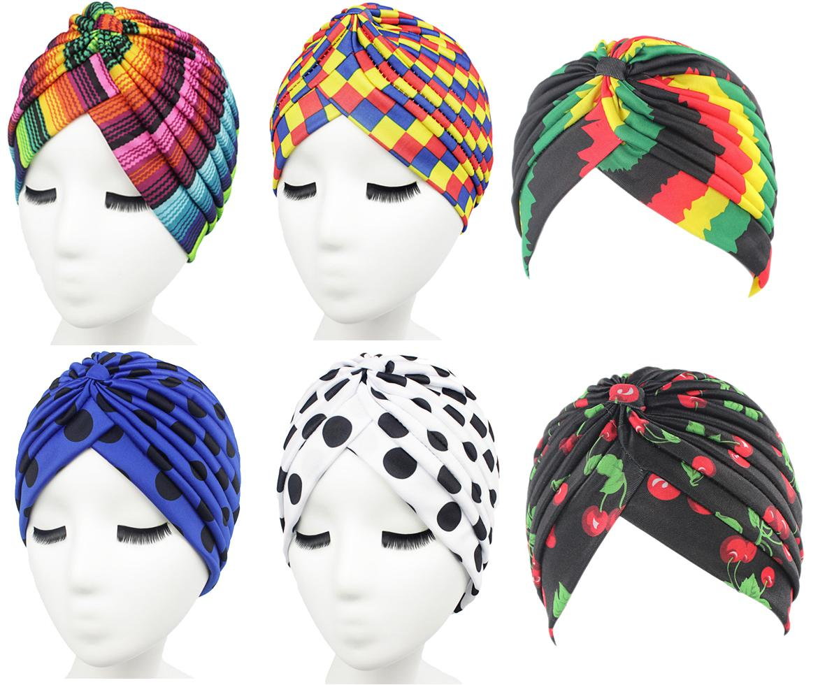 Women Rainbow Hat Colorful Prined Stripes Indian Cap Muslim Headscarf Headwear Bonnet Cancer Cap Pleated Head Wrap Cover Beanies