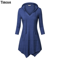 2017 Autumn Women 3 4 Sleeve Knitted Tunic Top With Hooded Irregular Hem Kangaroo Solid T