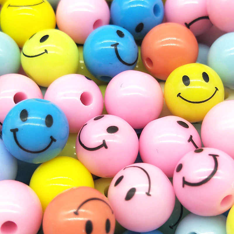 10/12mm 50/30pcs/lot Cheap Hot Beads Sale Smiling Face Mix Color Plastic Acrylic Round Ball Spacer Beads for DIY Jewelry Making