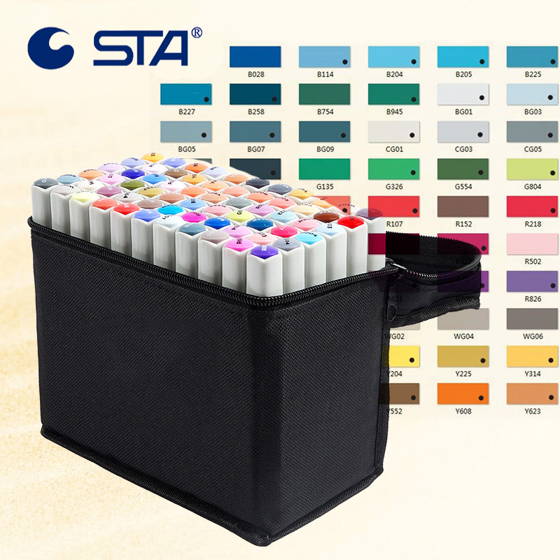 STA 80 Colors Art Marker Alcoholic oily Marker Set For Manga Dual Headed Artist Sketch Marker For Animation Manga Design touchnew 80 colors artist dual headed marker set animation manga design school drawing sketch marker pen black body