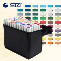 STA 80 Colors Art Marker Alcoholic oily Marker Set For Manga Dual Headed Artist Sketch Marker For Animation Manga Design