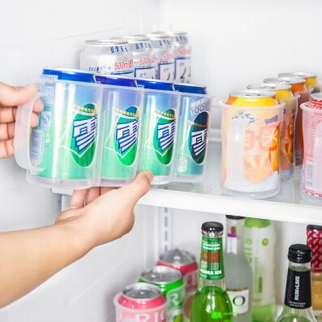 Refrigerator Coke Drink Can Storage Box Rack Space-saving Beverage Cans Finishing Frame 4 Organizer Kitchen Gadget
