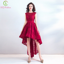 SSYFashion Nieuwe Elegante Banket Kant Cocktail Jurk Mouwloos Korte Front Lange Back Applicaties Party Formele Gown Robe De Soiree