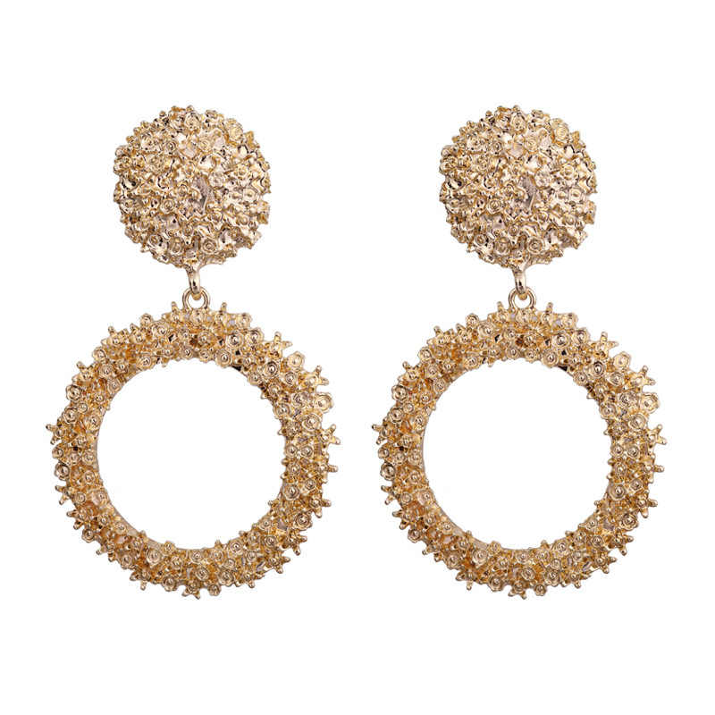 Round Vintage earrings for women gold color large earrings 2018 fashion jewelry statement earrings modern fashion jewelry