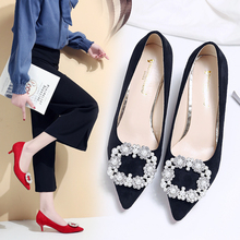 Women Rhinestone High Heel Pumps Pointed Toe Kitten Heel Suede Dress Pearl Wedding Shoes Red Bottom High Heels Bridal Shoes 2018 classic wedding dress shoes white pearl bride shoes party high heels 5 inches heel top grade leather pumps rhinestone