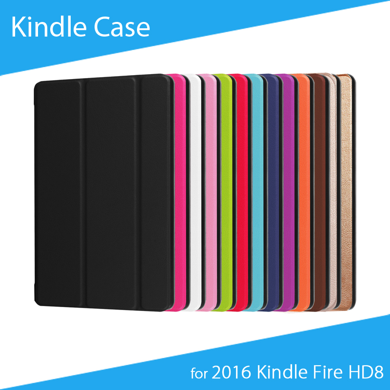 [Free Shipping] Kasite Three-Fold Heat Press PU Leather Protective Case for Amazon 2016 Kindle Fire HD8 Tablet protective pu leather case for amazon kindle fire 7 tablet white