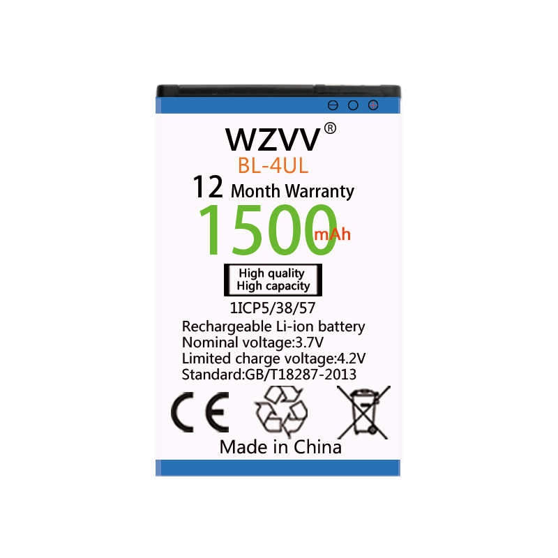 wvzz 1500mAh Li-ion Battery <font><b>BL</b></font>-4UL for Nokia Asha <font><b>225</b></font> Lumia <font><b>225</b></font> RM-1011 RM-1126 Replacement Batteries image