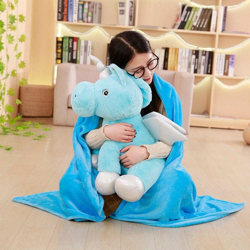 1 pc 55 cm mignon peluche licorne oreiller Air conditionné couverture 2 en un décorations pour la maison en peluche animaux licorne jouets cadeaux d'anniversaire