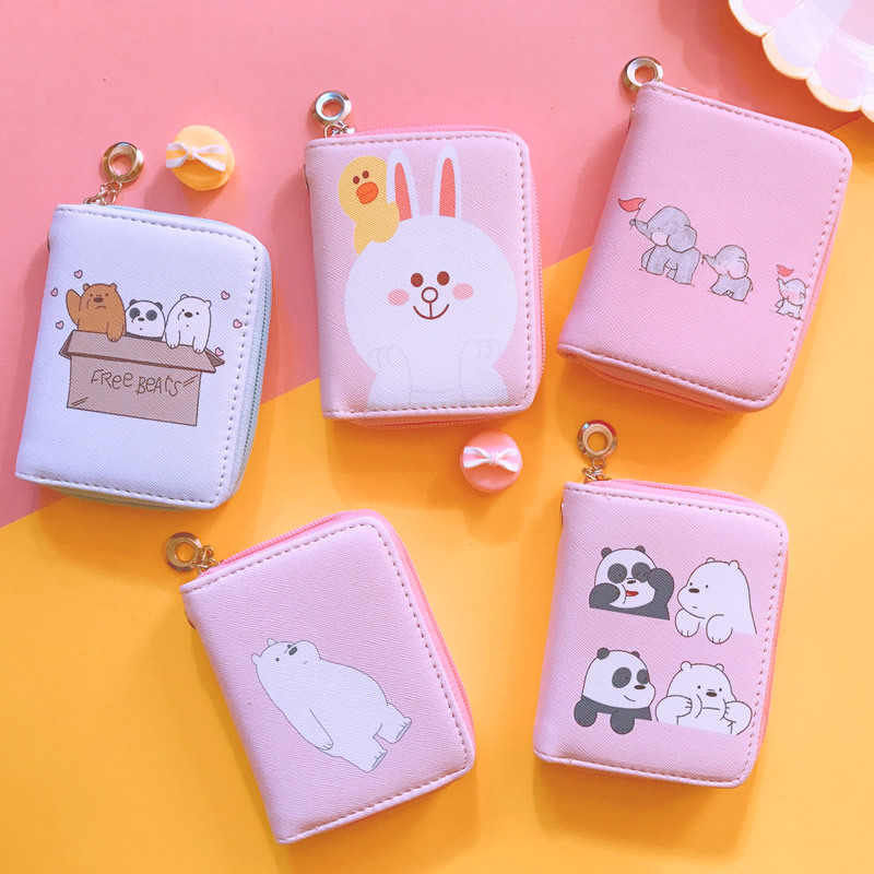 Wallet Girls Purse Watermelon Money Panda Animal Print Bunny Bear Cartoon Cat Zipper