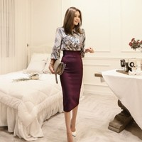 2018 Autumn High Quality Office Lady TWO Piece Set Vintage Printed Blouse Shirt & Slim Midi Length Bodycon Pencil Skirt Suits