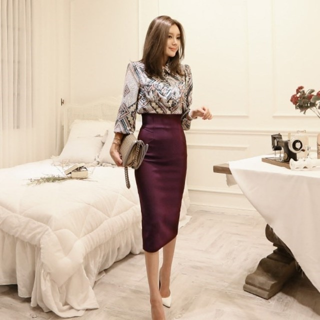 2020 ฤดูใบไม้ร่วงคุณภาพสูง Office Lady ชุด 2 ชิ้น VINTAGE พิมพ์เสื้อเสื้อ Slim MIDI ความยาว Bodycon กระโปรงดินสอชุด