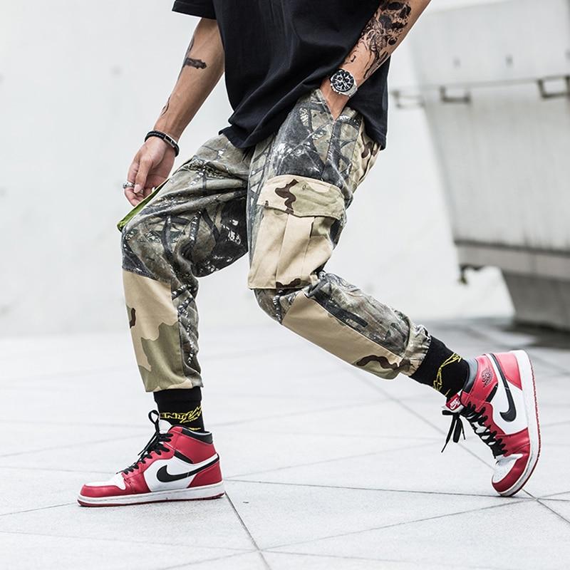 New 2018 Autumn Fashion Mens Jogger Cargo Pants Male Big Pockets Sweatpants Camouflage Desert Camo Streetwear Tactical Trousers