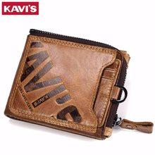 e41fadc194349 KAVIS çılgın at hakiki deri cüzdan erkekler sikke çanta erkek Cuzdan Walet  Portomonee portföy Perse küçük cep para çantası