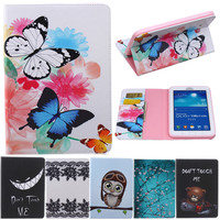 Butterfly Owl Cartoon PU Leather Flip Stand Cover Cases For Samsung Galaxy Tab 3 Lite 7