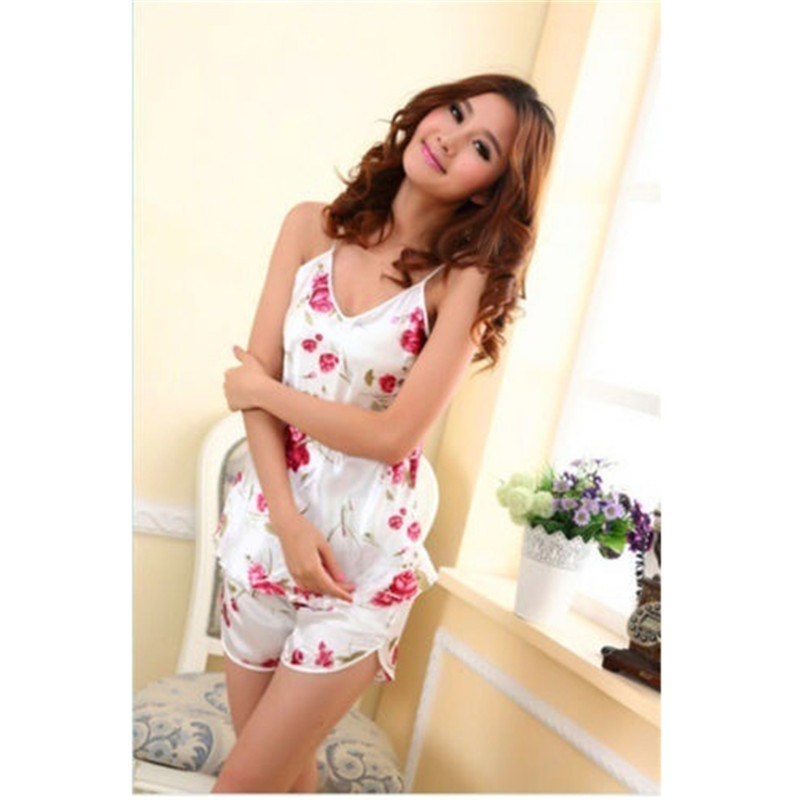 Sexy Flower Sleepwear Braces Shirts + Shorts Underwear Pajamas Robes Set for woman vetement femme