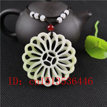 Natural White Jade Double-sided Hollow Flower Pendant Necklace Charm Jewellery Fashion Accessories Hand-Carved Man Lucky Amulet(China)