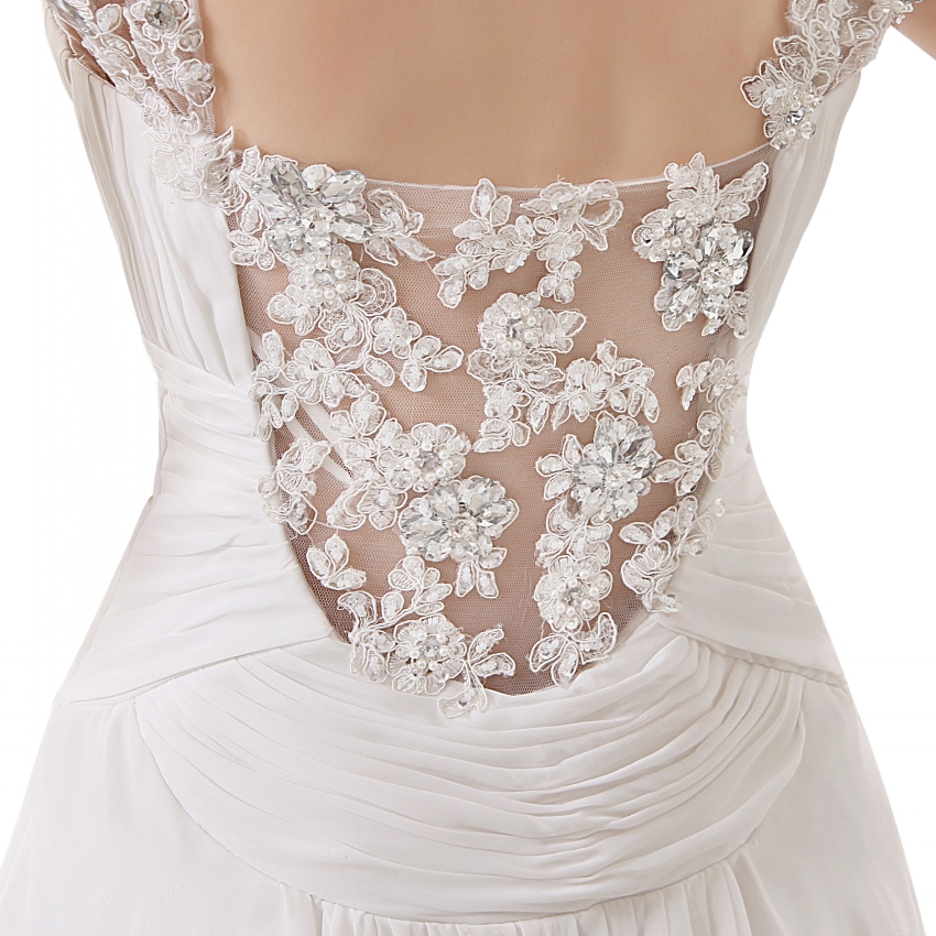 Lace Beaded Chiffon V-neck Beach Wedding Dress