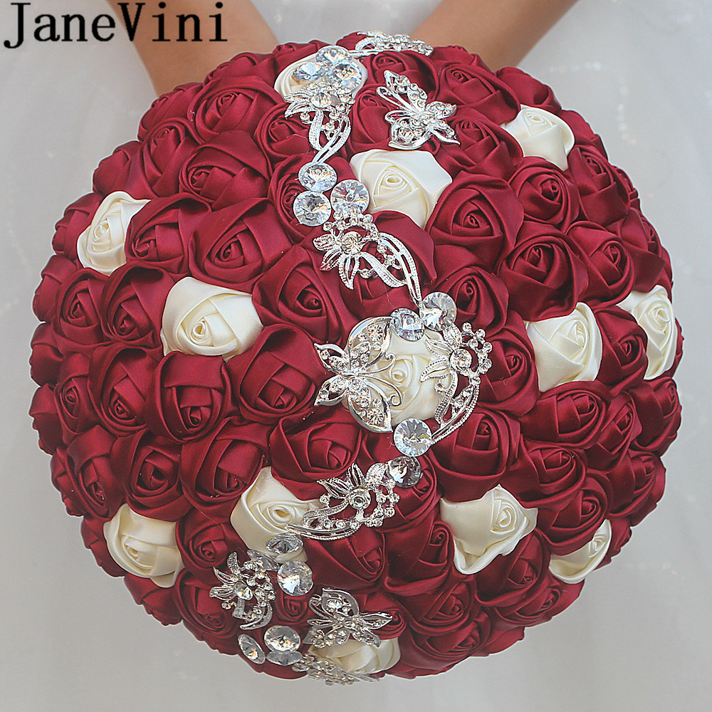 JaneVini 24cm Satin Flowers Bridal Bouquet With Crystal Rose Burgundy Flower Beaded Wedding Bouquet Purple Bouquets