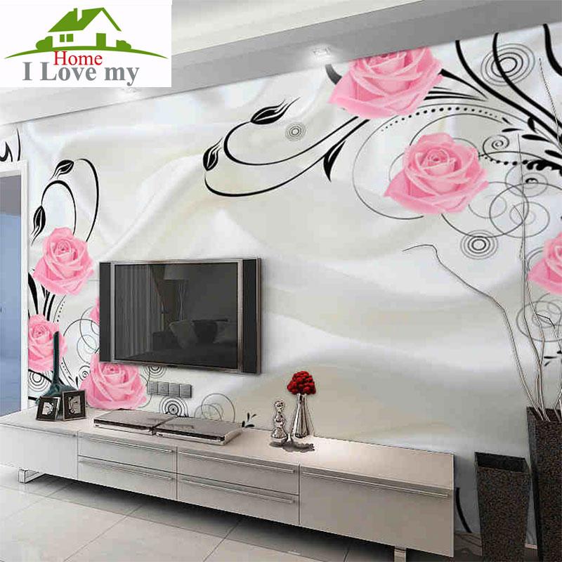 Rosa rosa de papel tapiz para paredes 3 d pared decoraci n - Decoracion de papel para paredes ...