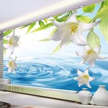 Пользовательские фото обои 3d стерео лилия капли воды фрески