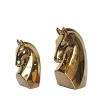 2 pieces for a set Golden Color Ceramic Horse Head Living Room Decoration Art Craft Model Birthday Gift Toy Display Art Horse