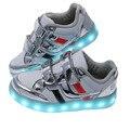 Usb recarregável led glowing luz shoes 2017 novas crianças respirável sneakers crianças luminosos shoes