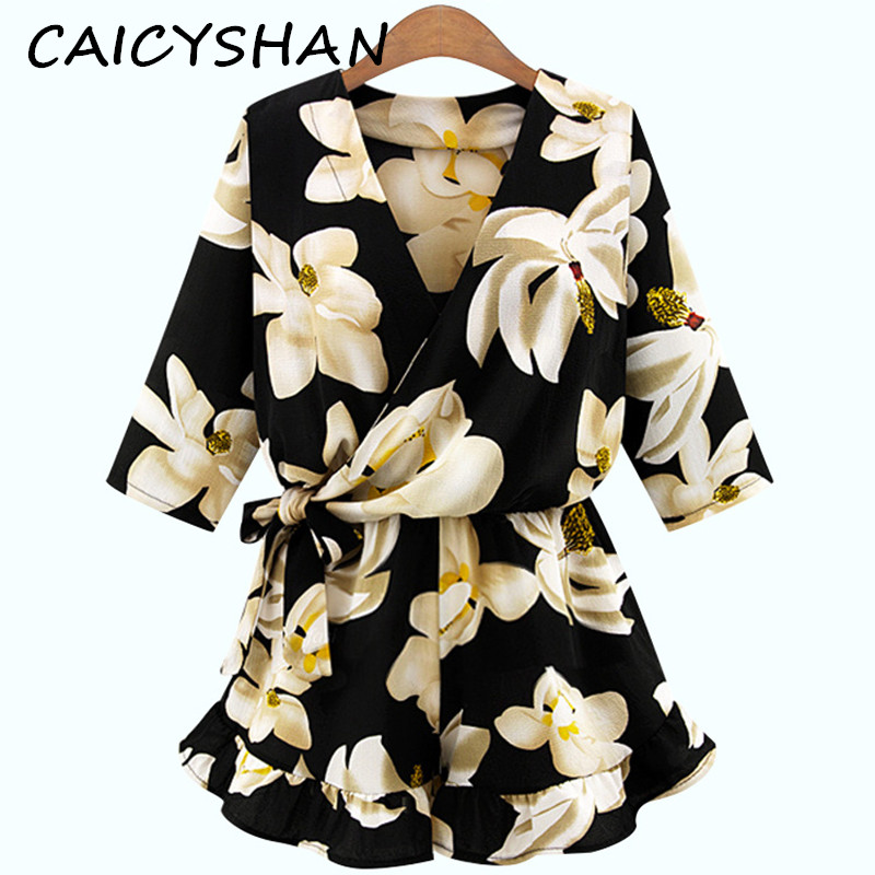 New Summer Style Fashion Women Playsuit Vestio Plus Size V-Neck Sashes Print Flower Chiffon Jumpsuit For Women Large jumpsuits