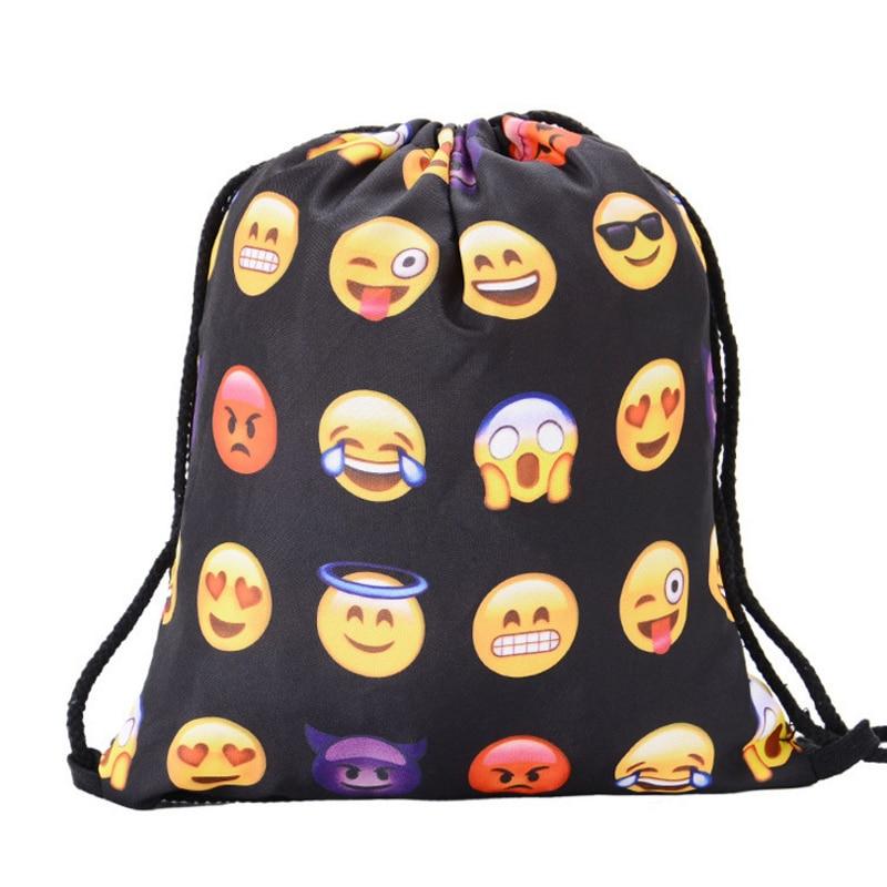 20PCS / LOT Creative Emoji Drawstring Bag 3D Printing Cycling Backpack Softback Large Capacity Pouch Travel Backpack