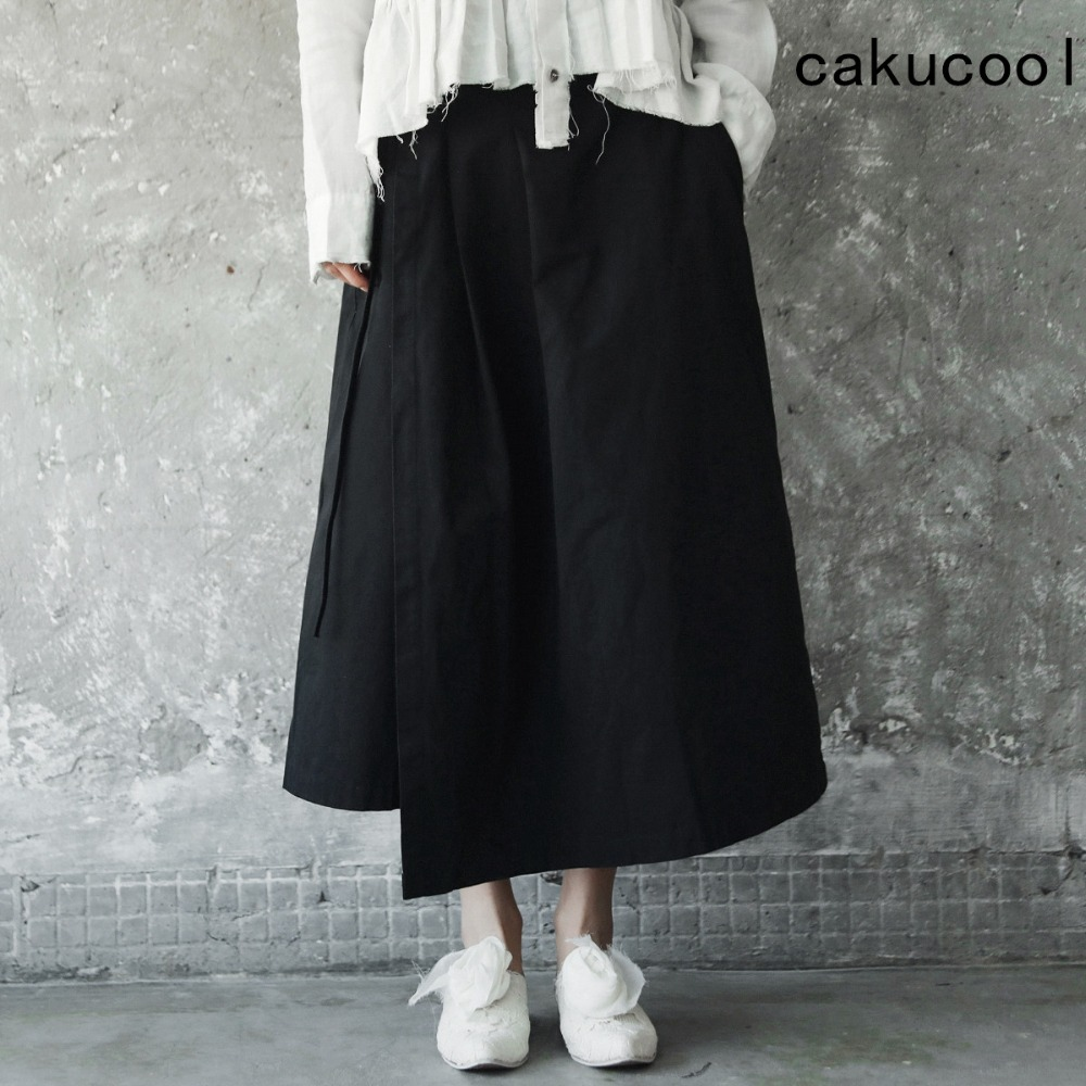 Cakucool Dark Black women Spring Washed Vintage   Wide     Leg     Pant   Asymmetric Belt Skirt   Pants   Capris Calf-length Big Trousers Female