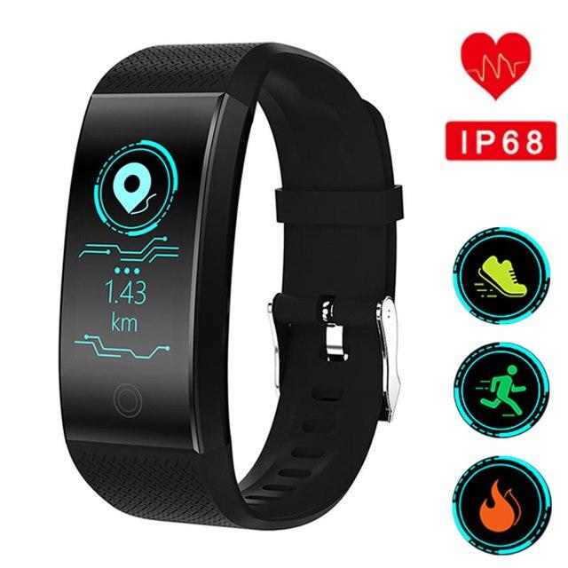Relógio Das Mulheres Dos Homens de Fitness Inteligente Pulseira Pedômetro Monitor de Freqüência Cardíaca À Prova D' Água IP68 Natação Correndo Esporte Relógio Para IOS Android