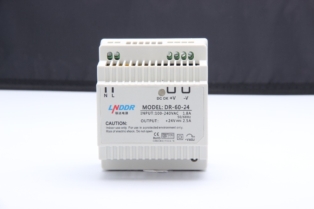 Din rail power supply 60w 24V power suply 24v 60w ac dc converter dr-60-24 meanwell 24v 60w ul certificated lpv series ip67 waterproof power supply 90 264v ac to 24v dc