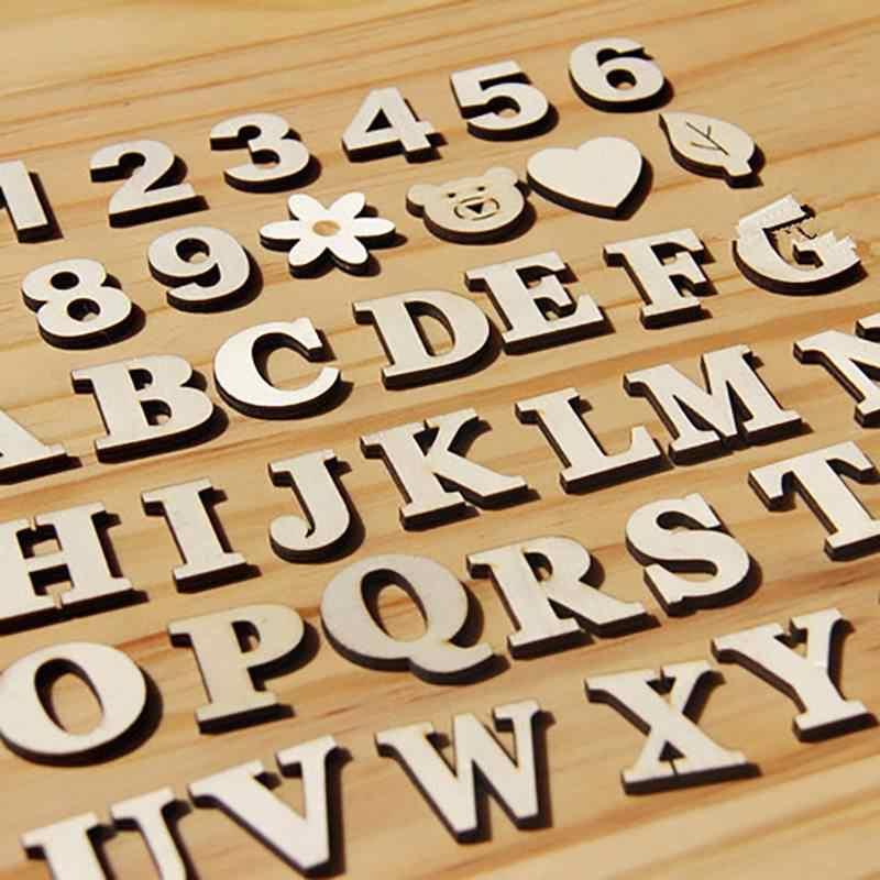 1 мешок смешанные A-z Алфавит деревянные буквы деревянный номер стикер ремесло 3d Скрапбукинг Декор самоклеющиеся Diy буквенно-цифровой