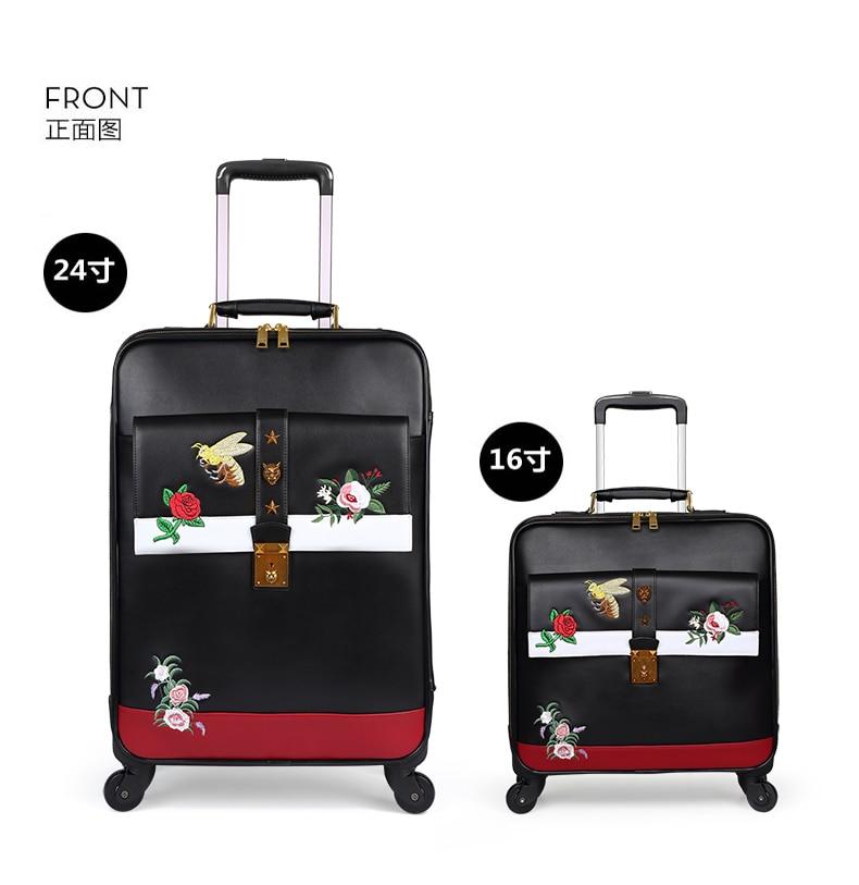 CARRYLOVE moda bagaż serii 16/20/24 cal rozmiar wysokiej jakości haft PURolling przechowalnia Spinner marki walizka podróżna w Walizka na kółkach od Bagaże i torby na  Grupa 1