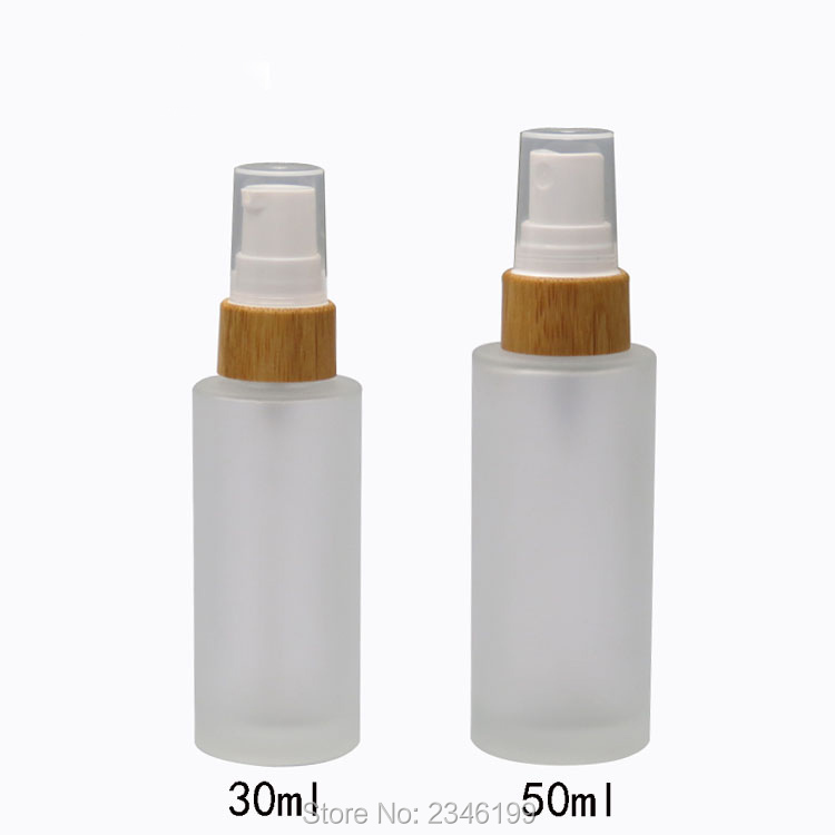 50ml white airless vacuum pump lotion bottle with silver pump used for cosmetic container 30ML50ML 10pcs/lot Matte Glass Lotion Pump Bottle n Bamboo Cap,Empty Frosted Spray Bottle,Superior Cosmetic Refillable Container
