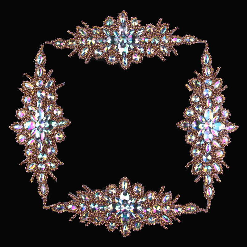 (3pcs/lot)Lovely Rose Gold Beaded Rhinestone Appliques Motif Patch Hot Fix Crystal Trimming For Girl Bridal Dress/Hair/Belt/Sash motif