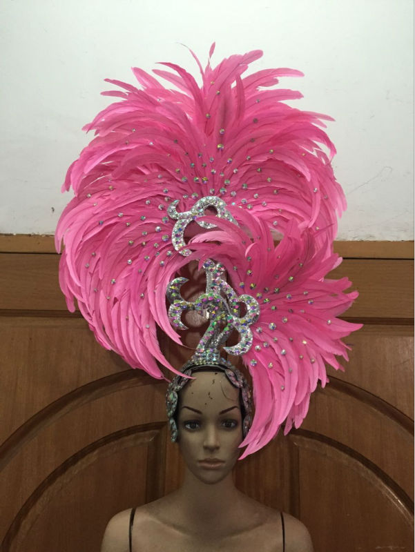 Carnival feather headwear for girls party dancing performance female clothes bow hair headdress dance feather headpiece