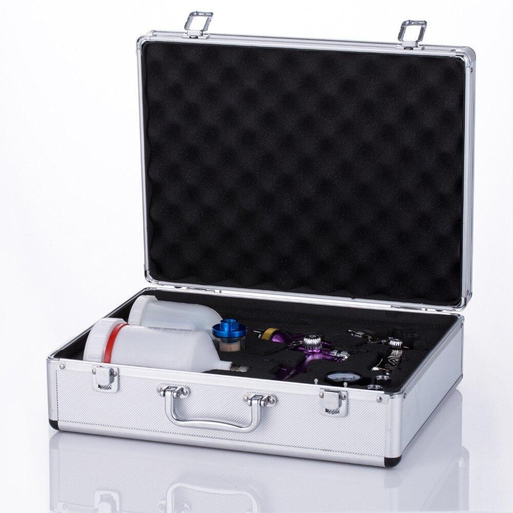 Pistola de tinta spray arma caixa + 2 Weta 1.3 milímetros + 1.0 milímetros Airbrush pistola airless spray de suporte para a pintura carro ferramenta Pneumática