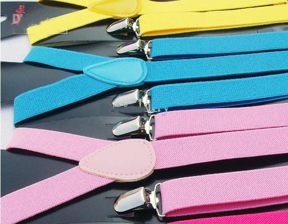 New Style Skinny Braces Suspenders Mens Ladies Neon Plain Adjust Colourful Clip-on Y-back 105pcs