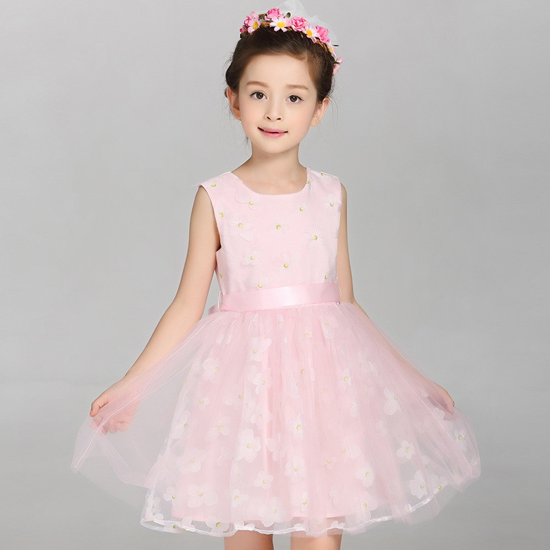 2018 New Arrival Girls Lace Princess Dress New Summer Brand Baby Girls Party Dress Kids Clothes Cotton Children Age 5-14T girls summer new arrival korean dress children clothes little child rose flower lace chiffon dress kids clothes pink green