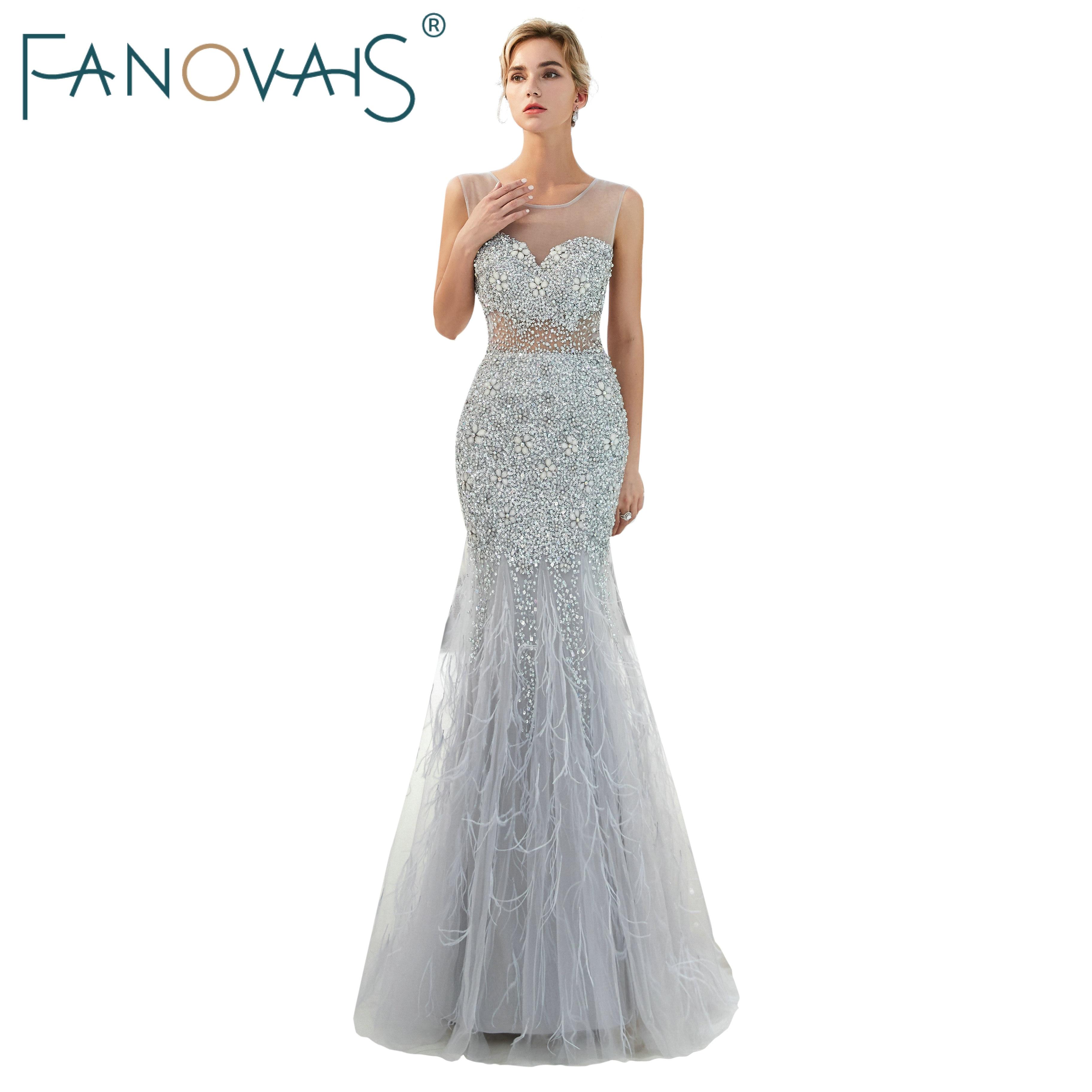 Robes De soirée Sexy 2019 perles De cristal robes De soirée avec plumes robes De bal Vestido De Novia élégante robe formelle longue