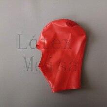 Латексные маски с открытым лицом красные резиновые колпаки с молнией на спине для взрослых