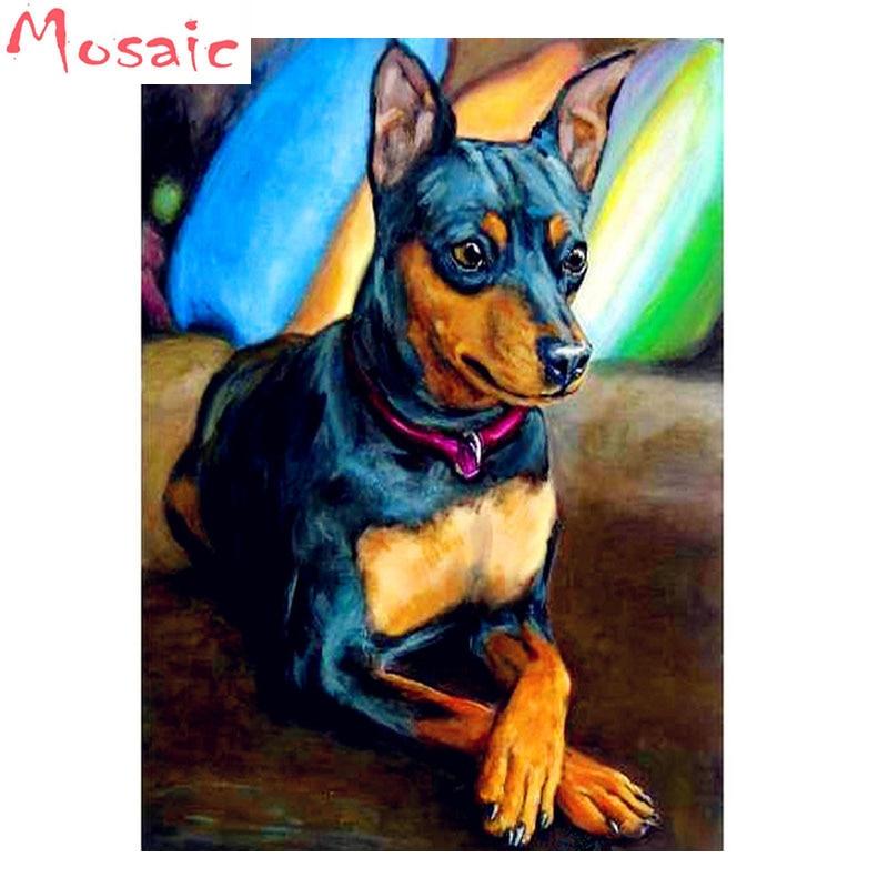3d diamond painting 5d animal miniature pinscher dog diamond embroidery Cross Stitch diamond mosaic full Square drill Home Decor