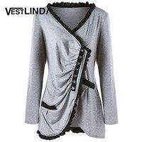 VESTLINDA Plus Size Flounce Asymmetric Button Tunic Top Women Fashion Casual Blouse Shirt Female V Neck