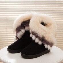 Fox Fur Warm Autumn Winter Wedges Snow Fox Snow Women Australia Boots Shoes GenuineI Mitation Lady Short Boots Casual Long Snow