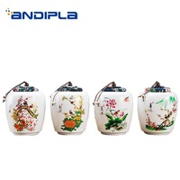 1PCS Pastoral Style Tea Storage Jar Hand Painted Flower Pattern Ceramic Seal Cans Home Kung Fu Tea Set Teaware Accessories Decor