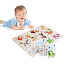 1Pc Baby Children Animal Wooden Attractive Early Learning Hand Puzzle Plate Toys Baby Gift