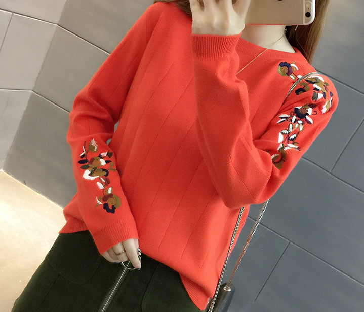 Mr nut spring and autumn new embroidery flower sweater women 39 s head autumn and winter tide short loose sweater shirt in Pullovers from Women 39 s Clothing