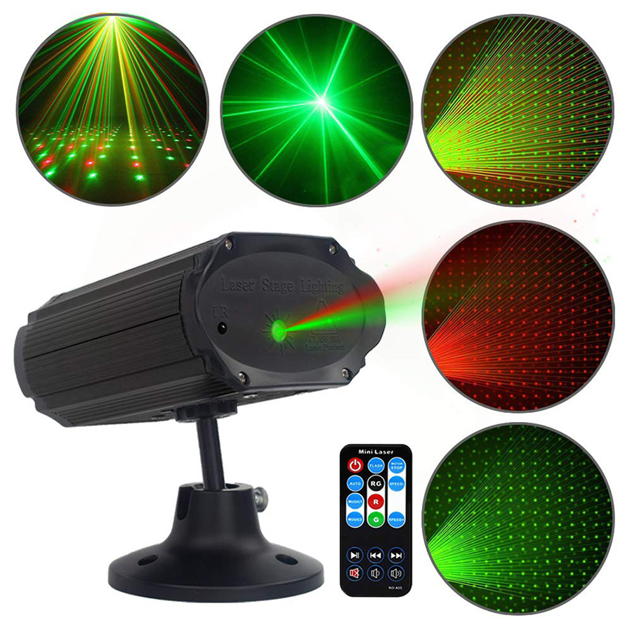 Mini Red Green Laser Projector Lights Sound Activated Star Shower DJ KTV Party Dsico Lights Home Xmas Wedding LED Stage Lighting