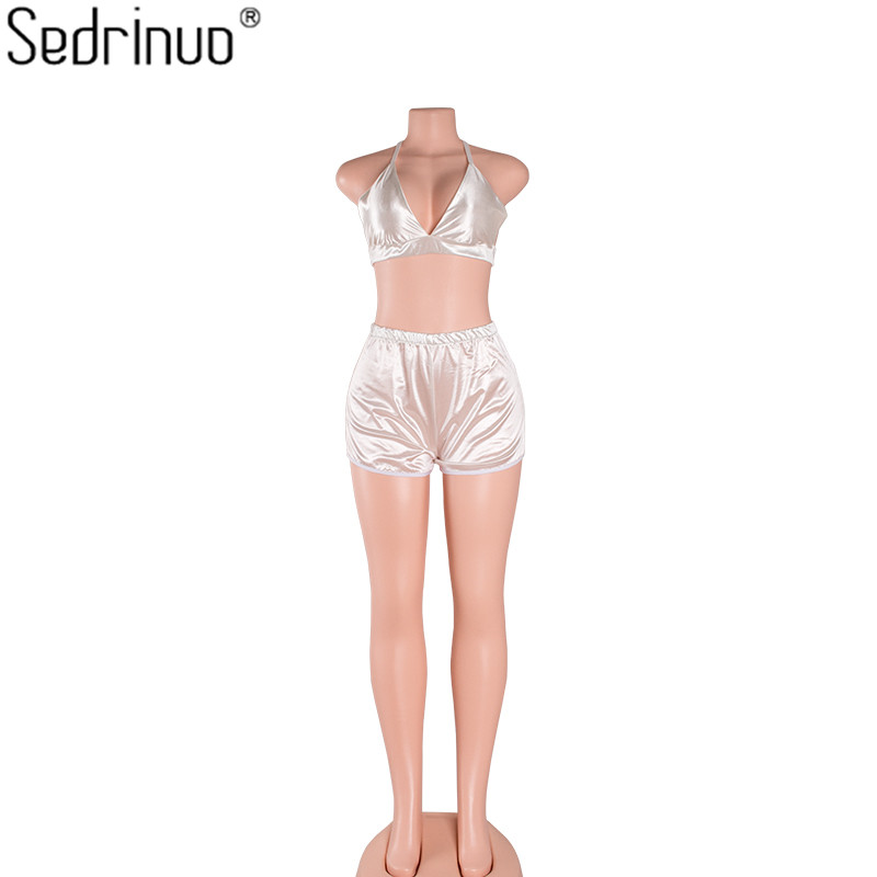 Sedrinuo Fashion Two Piece Outfits Crop Tops&Short Pants Rompers Women Jumpsuit Sexy Deep V neck Playsuits Jumpsuits vestidos