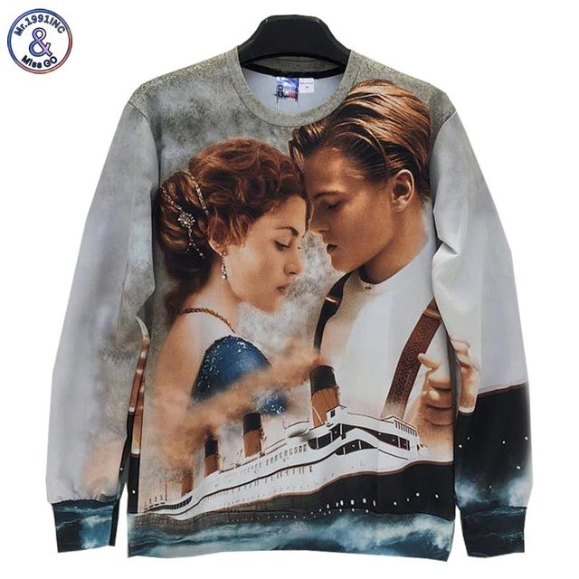 Mr.1991INC Men/women 3d sweatshirts Printed Film Titanic Jack Rose casual hoodies men Hoody Love Story W158